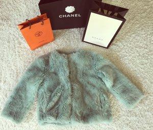 Zara Felljacke Faux Fur Fell Pelz Bolero Cape Jacke mint Blogger