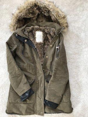 Zara Giacca di pelliccia grigio-verde