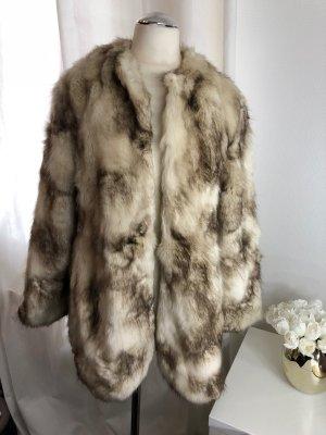Zara Chaqueta de piel marrón-beige