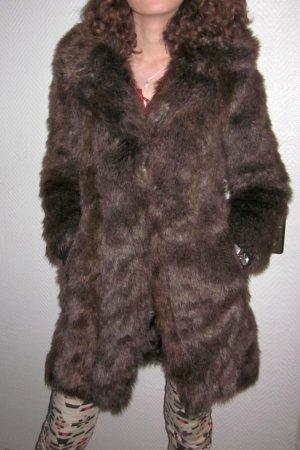 ZARA Fellmantel Wintermantel Mantel Winter Kurzmantel Longjacke Felljacke Pelzjacke Jacke Fake Fur braun wunderschön! dickes Fell 32 36 38 XS S M