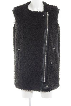 Zara Smanicato di pelliccia nero stampa integrale stile casual