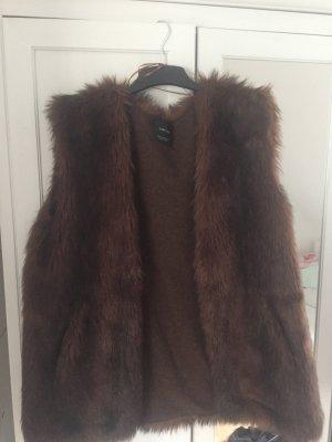Zara Knit Smanicato di pelliccia multicolore