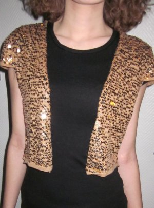 Zara festliche Pailetten Tunika Jacke Weste Bluse Shirt Kurzarm Raglan camel gold farben 36 38 M Party Feier Cut out wie NEU