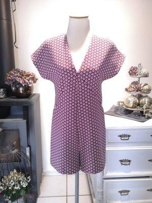 Zara Fischgrät Romper für den Herbst - 60er Jahre Stil Gr XS Overall Jumpsuit warm purpur weiss dunkelrot