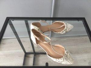 ZARA Flache Schuhe Gold spitze lace Glitzer 37