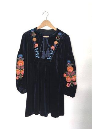 Zara Folklore Kleid Boho Hippie Samtkleid Gr. S 36 38