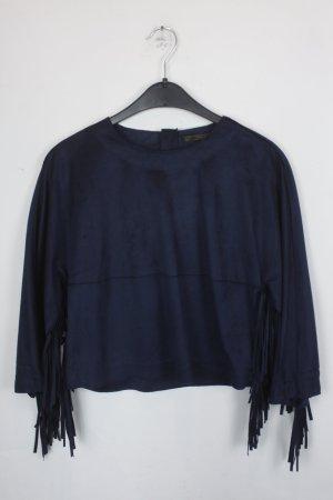 Zara Fransen Shirt Gr. S Fledermausärmel dunkelblau Wildleder Optik (18/3/310)