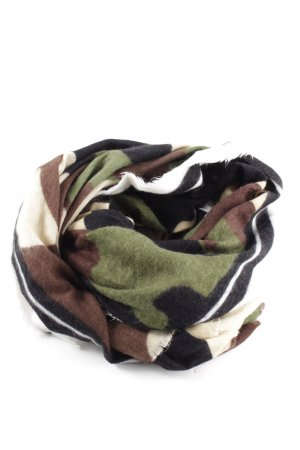 Zara Fringed Scarf camouflage pattern casual look