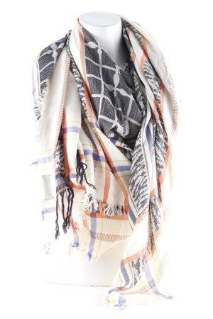 Zara Bufanda de flecos negro-crema estampado con diseño abstracto look casual