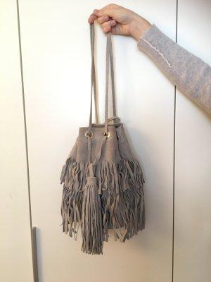 Zara Basic Tas met franjes lichtgrijs