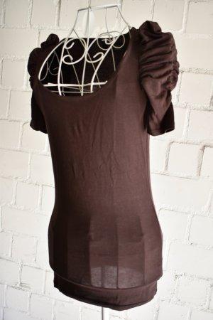 Zara Haut basique brun tissu mixte