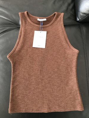 Zara Ribbed Shirt brown-bronze-colored