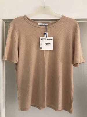 Zara Ribbed Shirt oatmeal-beige