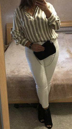 Zara gestreifte Bluse mit Kettenprint aus Cupro Luxusfasern M