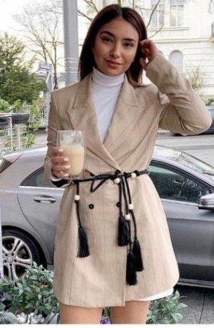 Zara Lange blazer zandig bruin-zwart Gemengd weefsel