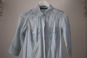 Zara Gestreiftes Hemd Blau Weiß