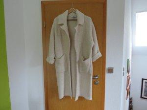 Zara Knit Abrigo de lana blanco puro tejido mezclado