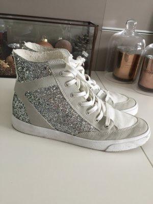 Zara Glitzer Glitter Turnschuhe Sneakers Gr 39 Silber weiß grau