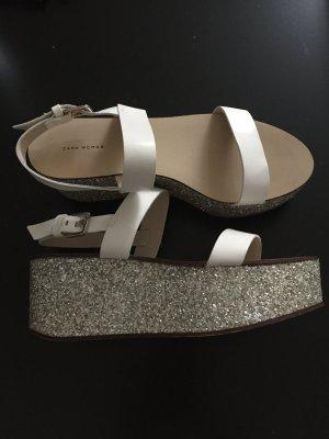 Zara Mule blanc-argenté