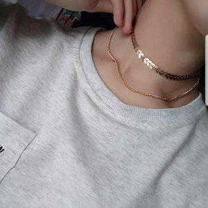 Zara - gold Choker/ Kette, zweistufig mit Zacken, Aztekenmuster, verstellbar, neu