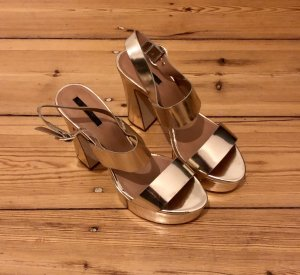 Zara Gold Crossover Heeled Sandals / Summer Must Have