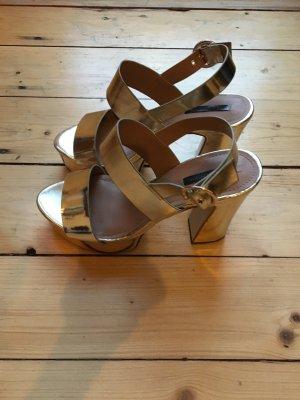 ZARA Gold Platform Heels / Ungetragen /