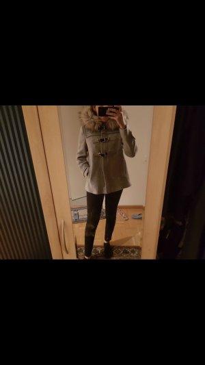 Zara grauer dufflecoat Mantel Jacke Winterjacke xxl Fell kapuze