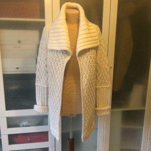 Zara Veste tricotée en grosses mailles beige clair laine