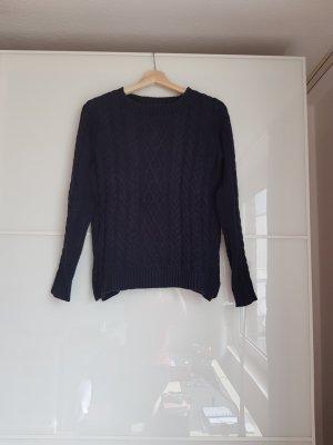 Zara Coarse Knitted Sweater dark blue