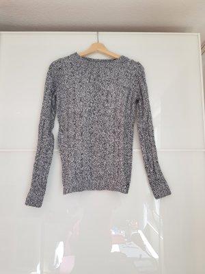 Zara Coarse Knitted Sweater white-dark blue