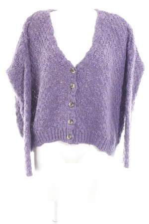 Zara Coarse Knitted Jacket lilac loosely knitted pattern fluffy