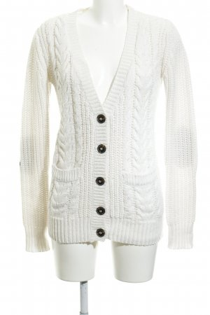 Zara Coarse Knitted Jacket natural white cable stitch casual look