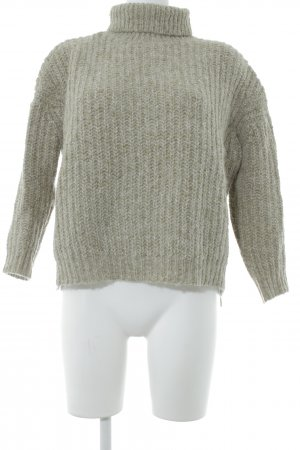 Zara Grobstrickpullover graugrün-wollweiß Casual-Look