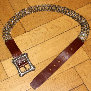 Zara Chain Belt brown red-grey leather