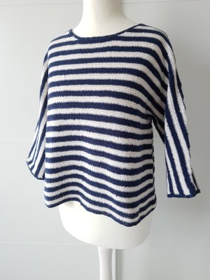 ZARA Häkel-Pullover, 3/4-Arm, Baumwolle, gestreift, blau/weiß