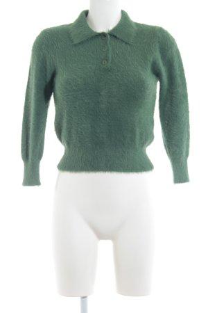 Zara Häkelpullover waldgrün extravaganter Stil