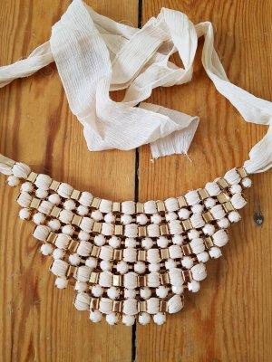 Zara Halskette Schmuck gold rosa Statement Kette Choker Halsband Gliederkette Schleife Accessoires Festival NP 29€