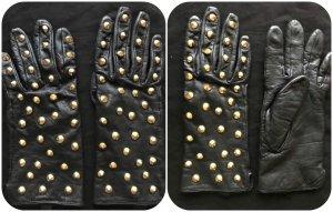 Zara Basic Gants en similicuir noir-doré tissu mixte