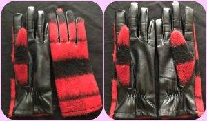Zara Guanto in ecopelle nero-rosso mattone Tessuto misto