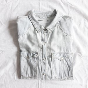 Zara hellblaues Jeanshemd Denim Jeans Hemd Bluse L