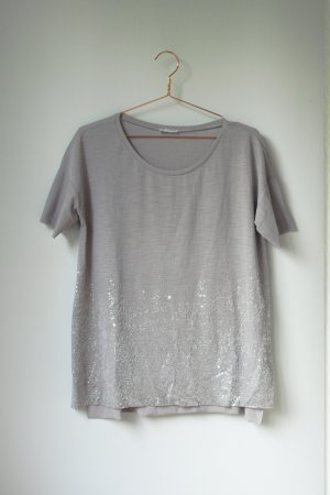 Zara hellgraues Oversized Shirt mit silber Perlen L
