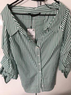 Zara Camisa de manga corta verde-blanco