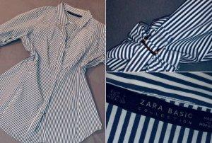 ZARA Hemd blau/weiß