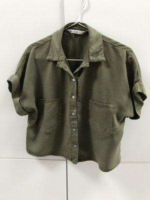 Zara Camisa de manga corta gris verdoso