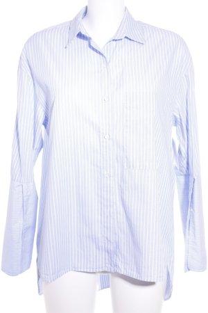 Zara Blouse-chemisier bleu azur-blanc motif rayé style décontracté