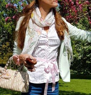 Zara Blusa-camisa blanco-rosa claro
