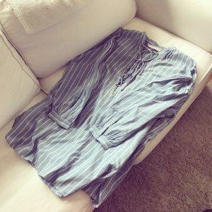 Zara Hemd Blusenkleid Maritim Tunika Bluse Lace Up