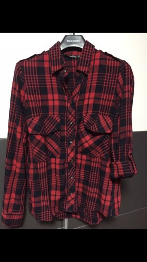 Zara Camisa de manga larga negro-rojo oscuro
