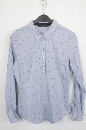 ZARA Hemd Gr.L blau und weiß gestreift mit kleinem orientalischem Muster (18/4/395)