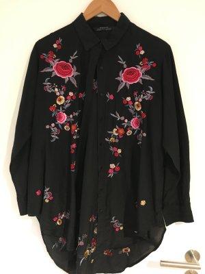 Zara Hemd in schwarz mit Blumenstickerei (Größe S)